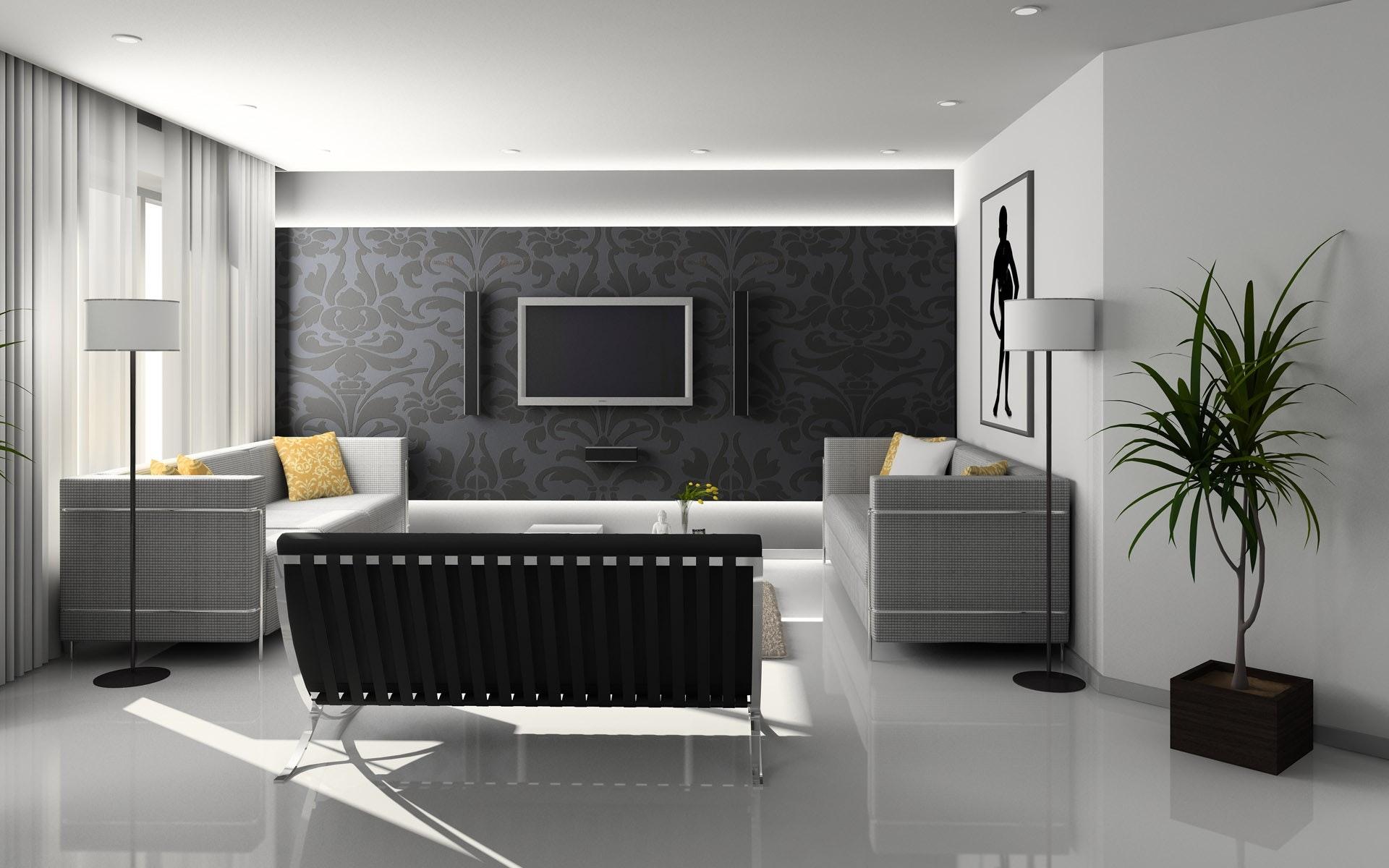 Sala de estar com sofás, cadeiras e televisão